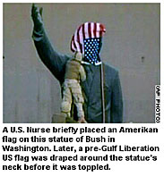 US nurse place flag on statue of Bush in Washington